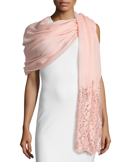 Valentino Golden Flower Lace-Trim Shawl, Powdery Rose