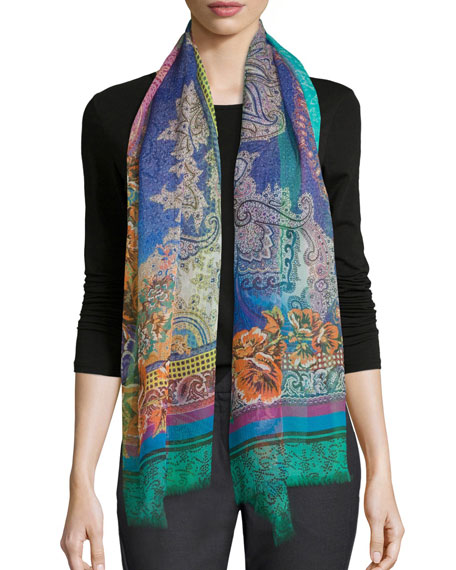 Floral Paisley Dip-Dye Scarf, Turquoise