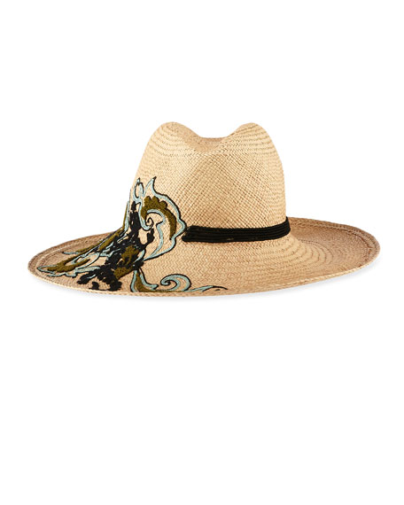 STRAW WIDE EMBROIDERED HAT