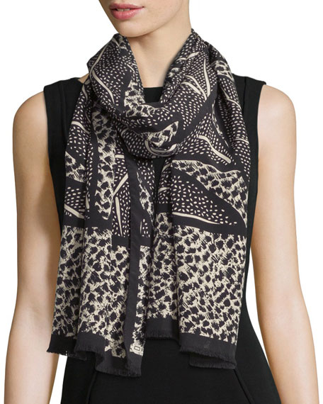 EtroBicolor Leaf-Print Scarf, Black/Cream