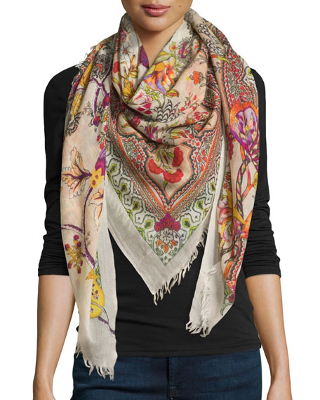 Etro Animal Print Cashmere Scarf, Multi Colors