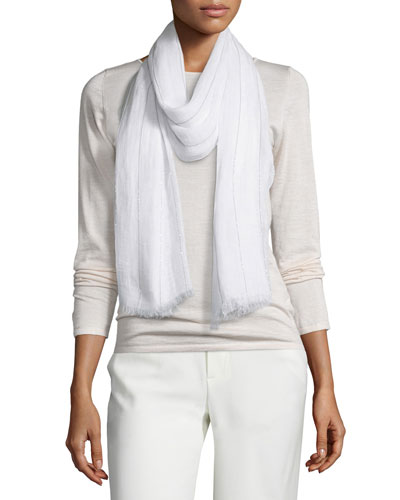 Monili-Stripe Linen Scarf, White