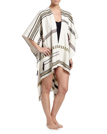Tory Burch Jacquard Tribal-Print Poncho Coverup