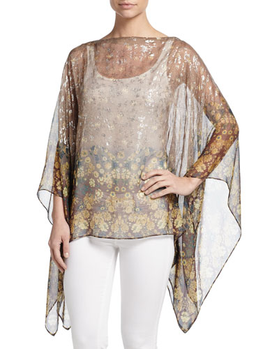 Floral Stencil Silk Poncho, Taupe