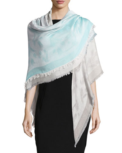 Woven Floral Ombre Stole, Turquoise