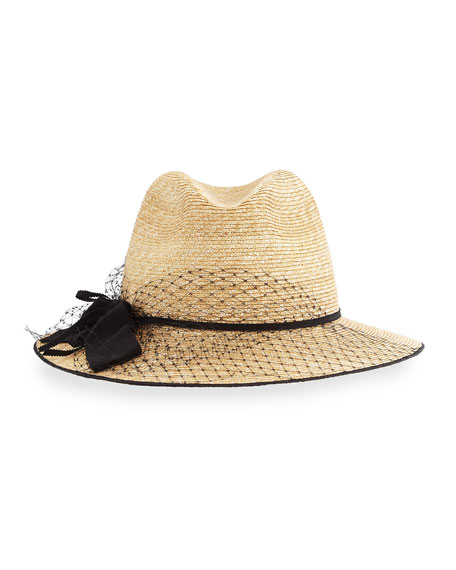 Indi Straw Fedora Hat w/ Netting, Natural