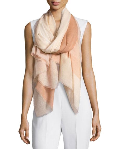 Agnona Woven Check Wool Scarf, Multicolor