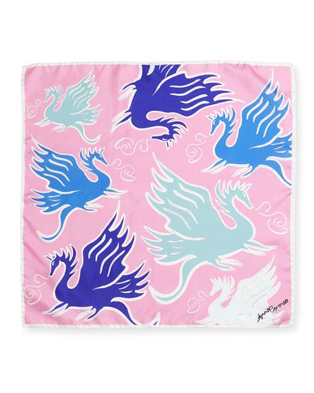 Mini Twill Dragons Scarf, Pink