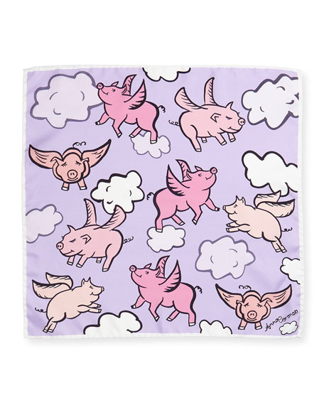 Mini Twill Flying Pigs Scarf, Pink