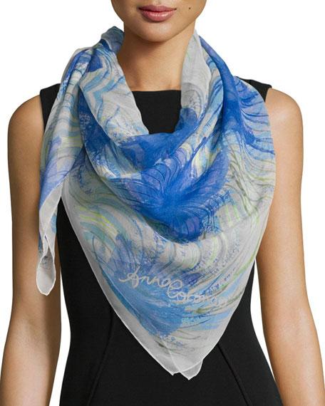 Anna Coroneo Classic Silk Hibiscus Square Scarf, Blue
