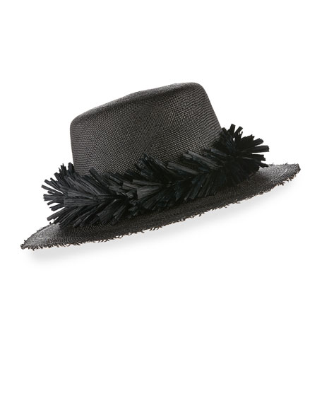 Brigette Straw Boater Hat, Black