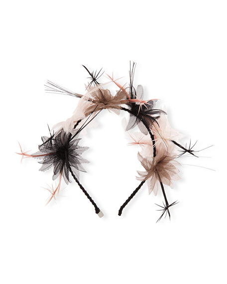Paradise Organza/Feather Cluster Headband/Fascinator, Black/Petal/Tan