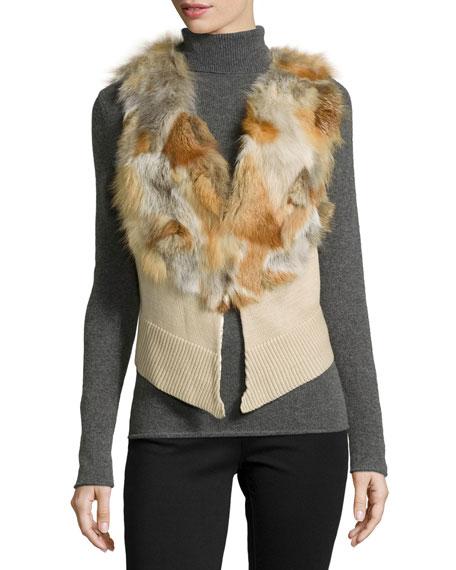 Adrienne Landau Fox-Fur Knit Cropped Vest, Red Fox/Ivory