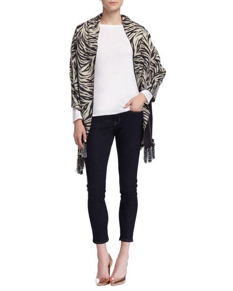 Neiman Marcus Cheetah/Zebra Reversible Wrap with Fur Tails,