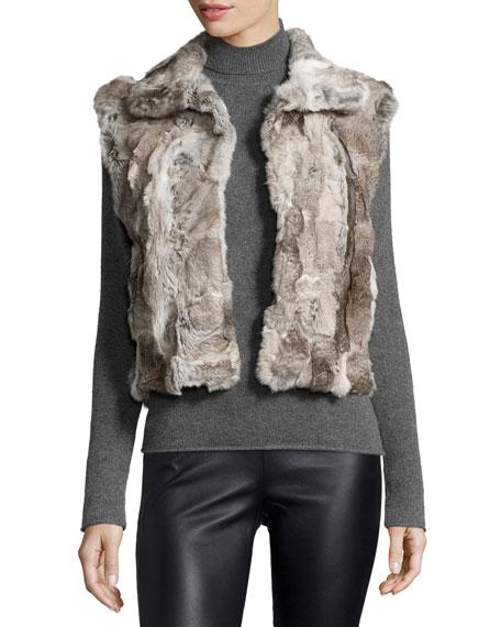 Adrienne Landau Textured Rabbit-Fur Vest, New Goma Gray