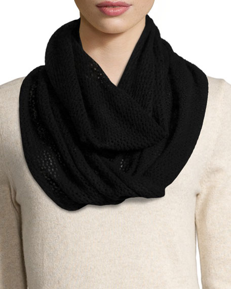 Neiman Marcus Cashmere Pointelle Infinity Scarf, Black