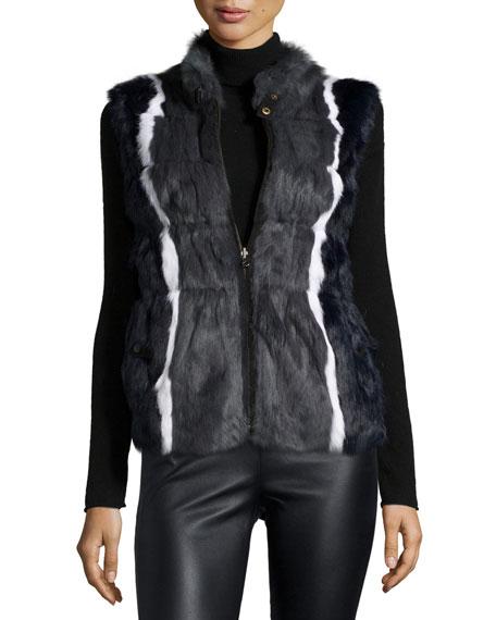 Jocelyn Reversible Rabbit-Fur Vest, Navy