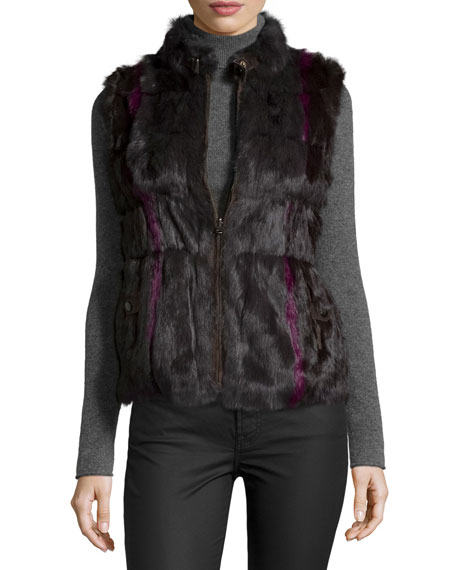 Jocelyn Reversible Rabbit-Fur Vest, Magenta