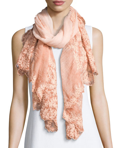 Faliero Sarti Teti Embroidered Scalloped Scarf, Peach