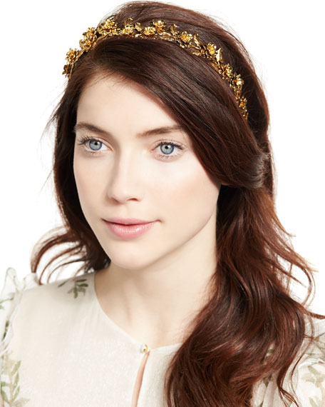 Scarlett Floral Metal Head Wrap, Gold