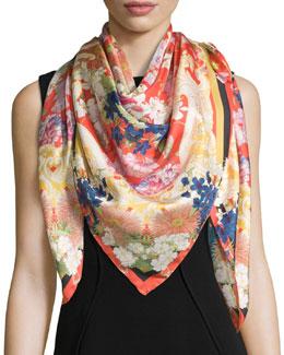 Deliliah Floral Silk Scarf, Red