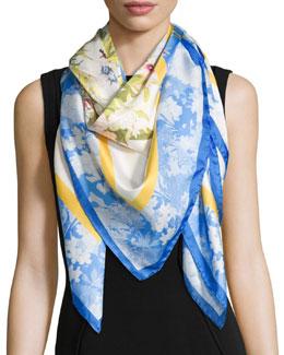 Dyan Floral Silk Scarf, Blue