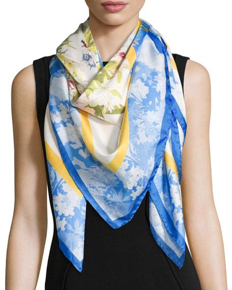 St. Piece Dyan Floral Silk Scarf, Blue