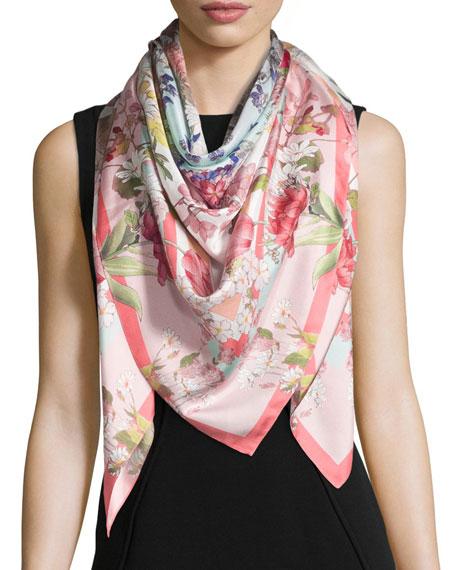 St. Piece Daphne Floral Silk Scarf, Pink