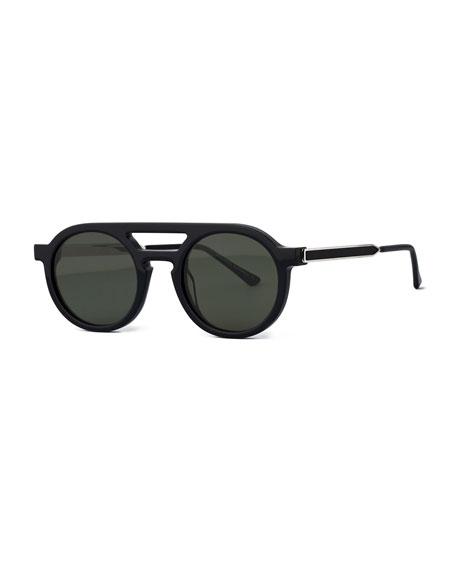 Thierry Lasry Gravity Striped Round Sunglasses, Black