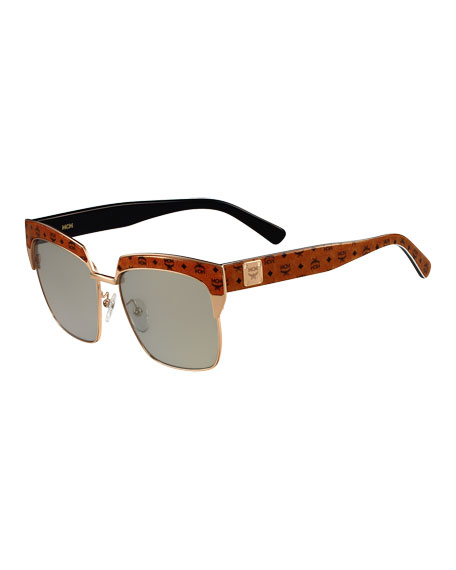 Printed Square Mirrored Sunglasses, Tan