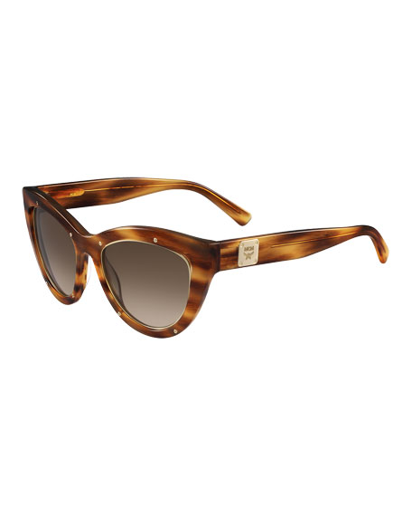 MCM Trimmed Cat-Eye Logo-Temple Sunglasses, Amber