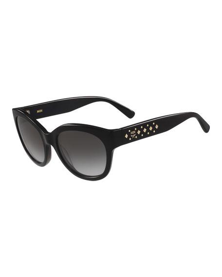 MCM Studded Cat-Eye Sunglasses, Black