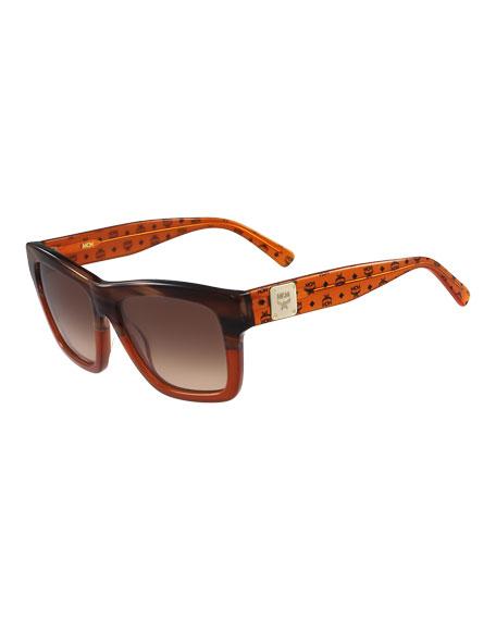 MCM Printed Square Logo-Temple Sunglasses, Amber/Tan