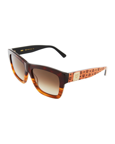 MCM Printed Square Logo-Temple Sunglasses, Tortoise/Tan