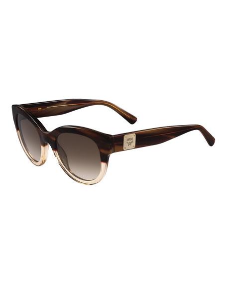 MCMCat-Eye Logo-Temple Sunglasses, Tan/Clear