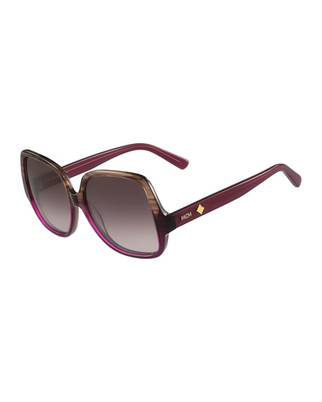 MCM Gradient Square Ombre Drop-Temple Sunglasses, Brown/Purple