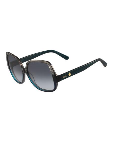 MCM Gradient Square Ombre Drop-Temple Sunglasses, Gray/Teal