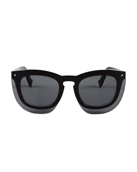 Inbox Oversize Square Sunglasses, Black/Gray