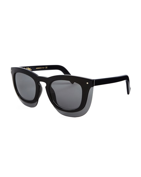 Grey Ant Inbox Oversize Square Sunglasses, Black/Gray