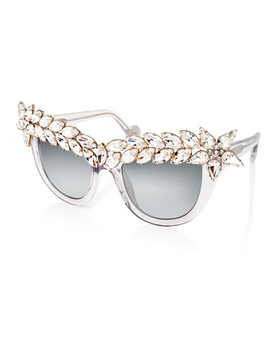 Decadence Mirrored Cat-Eye Sunglasses, Ice Crystal