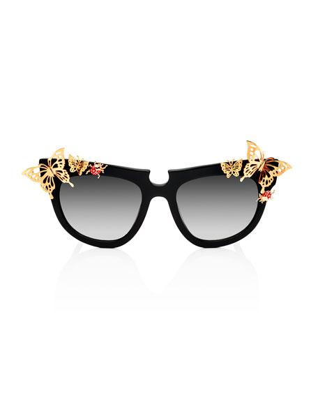 Ladybird Cat-Eye Sunglasses, Black