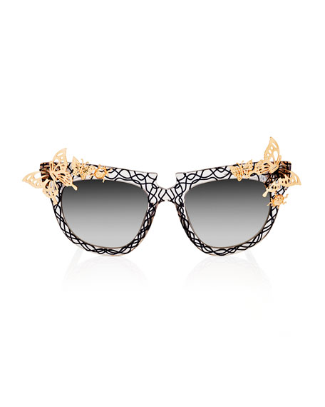 Ladybird Printed Cat-Eye Sunglasses, Crystal