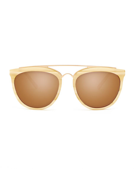 Volunteers Square Metal-Bridge Sunglasses, Cream/Horn