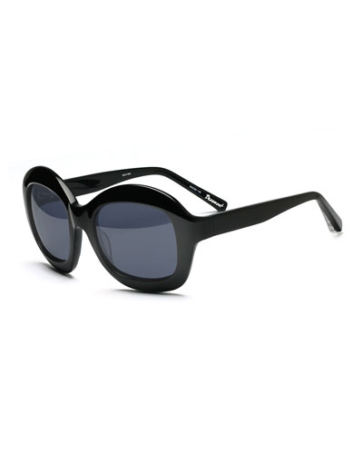 Beaumont Round Monochromatic Sunglasses, Black/Blue