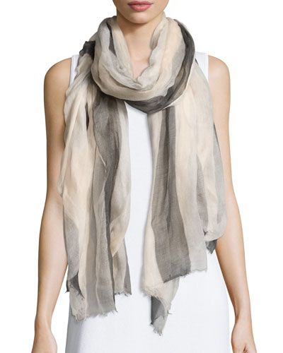 Striped Cashmere Scarf, Butter/Onyx