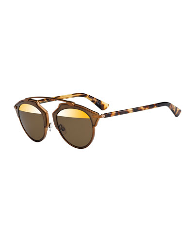 So Real Two-Tone Brow-Bar Sunglasses, Bronze