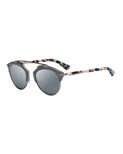 So Real Mirrored Brow-Bar Sunglasses, Gunmetal/Black