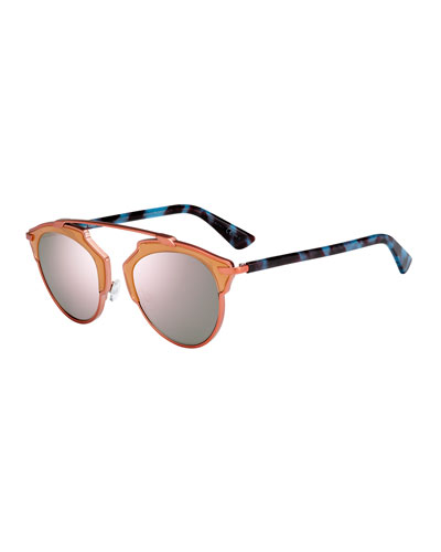 So Real Brow-Bar Mirrored Sunglasses, Peach