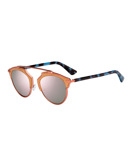 Dior So Real Brow-Bar Mirrored Sunglasses, Peach