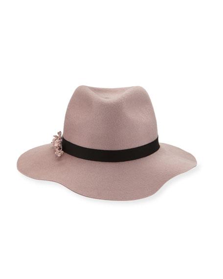 Georgina Felt Fedora Hat, Rose